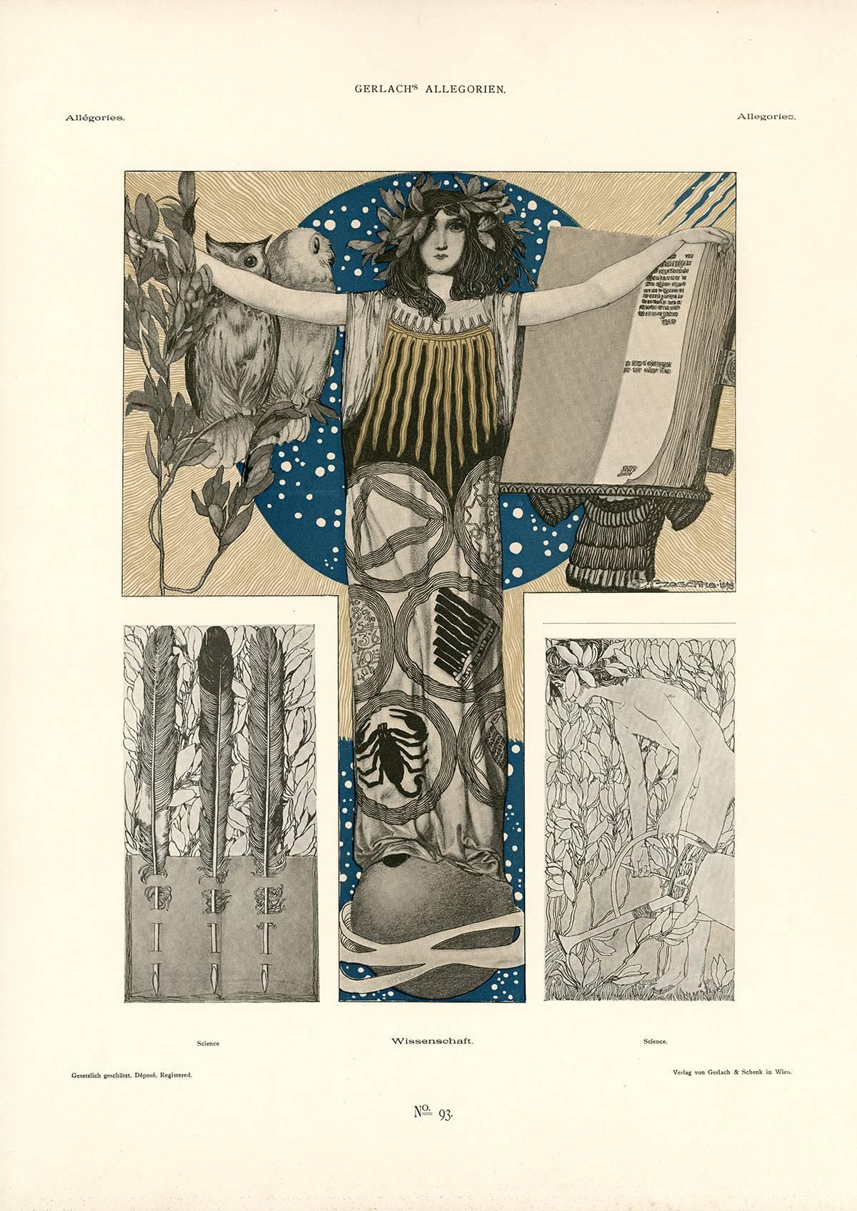 """Gerlach's Allegorien Plate #93: """"Science"""" Lithograph by Carl Otto Czeschka"""