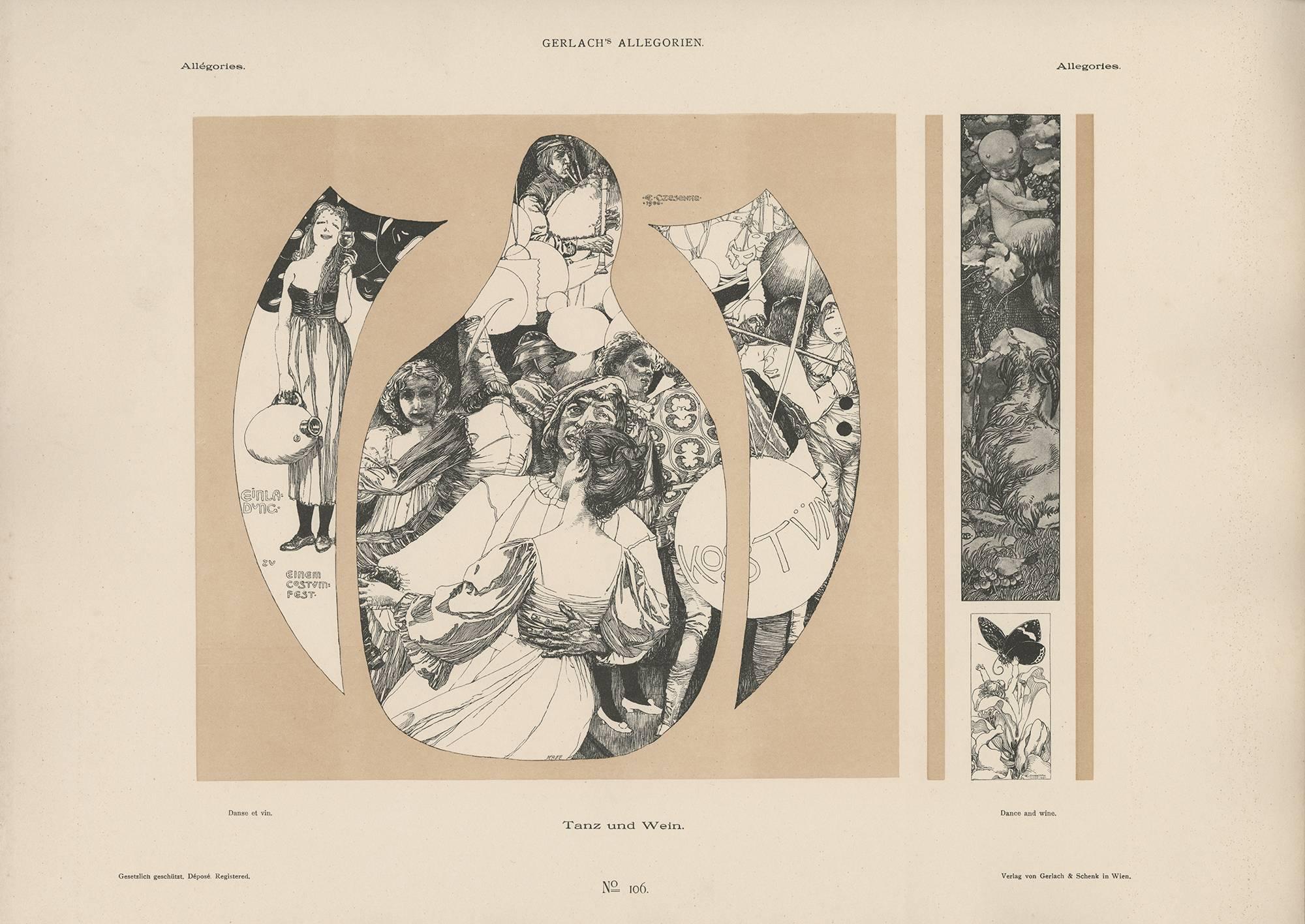 """Gerlach's Allegorien Plate #78: """"Dance & Wine"""" Lithograph by Carl Otto Czeschka"""