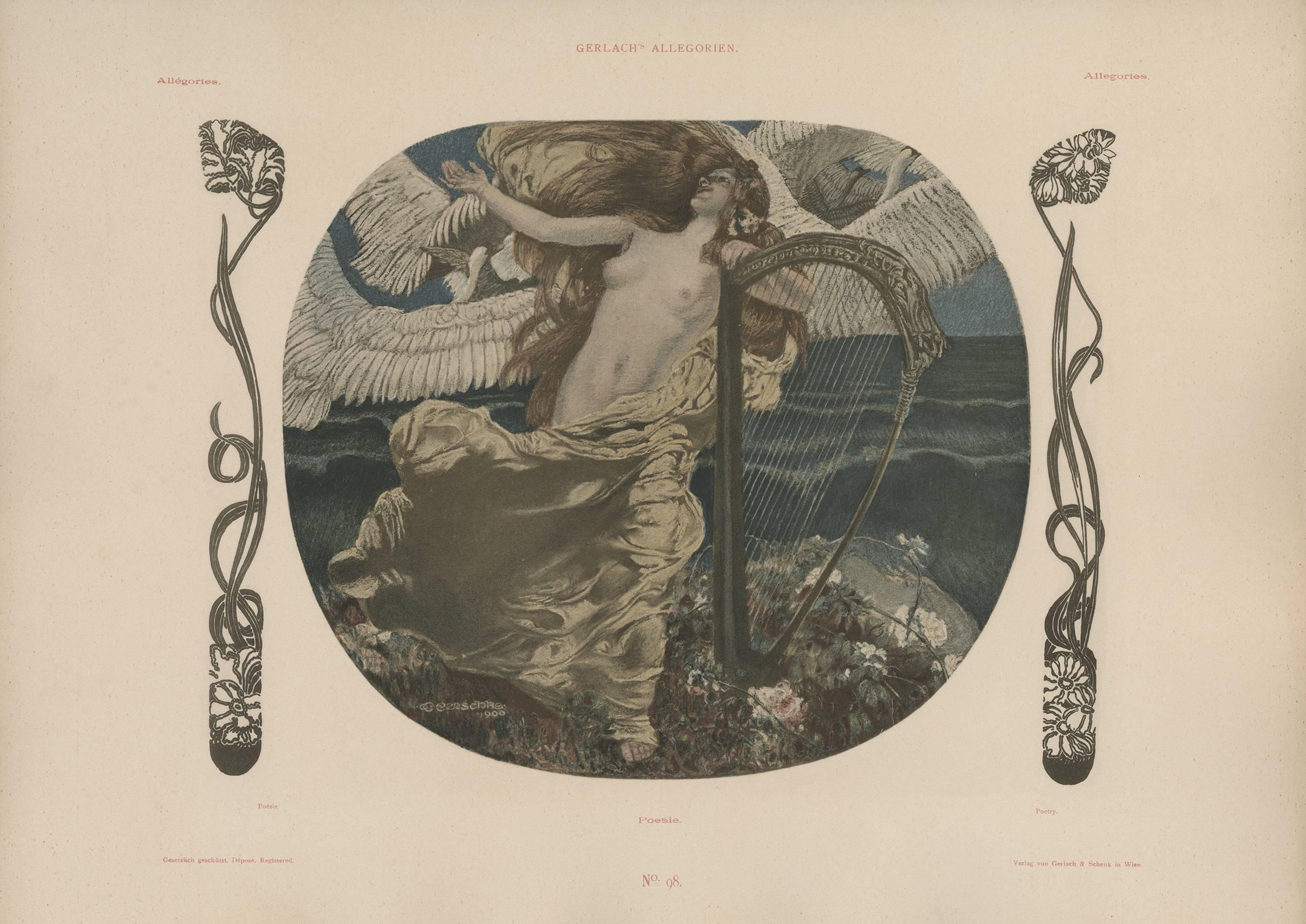 "Gerlach's Allegorien Plate #98: ""Poetry"" Lithograph by Carl Otto Czeschka"