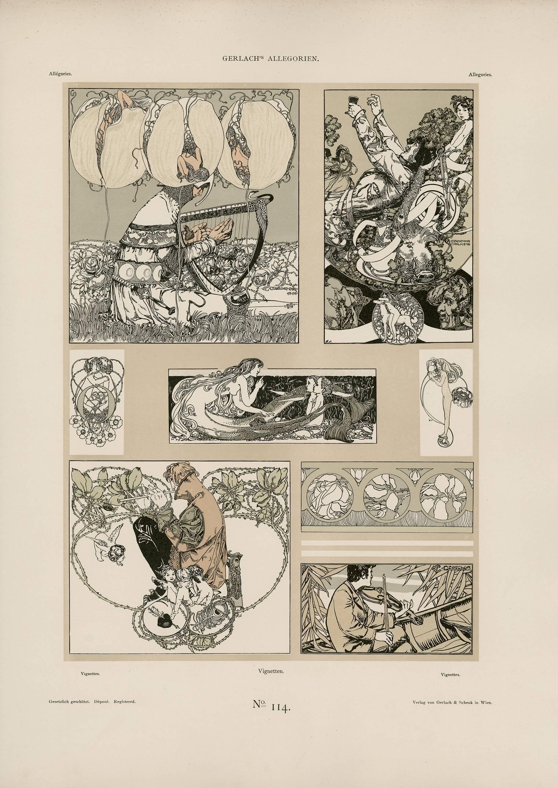 """Gerlach's Allegorien Plate #114: """"Vignettes"""" Lithograph by Carl Otto Czeschka"""