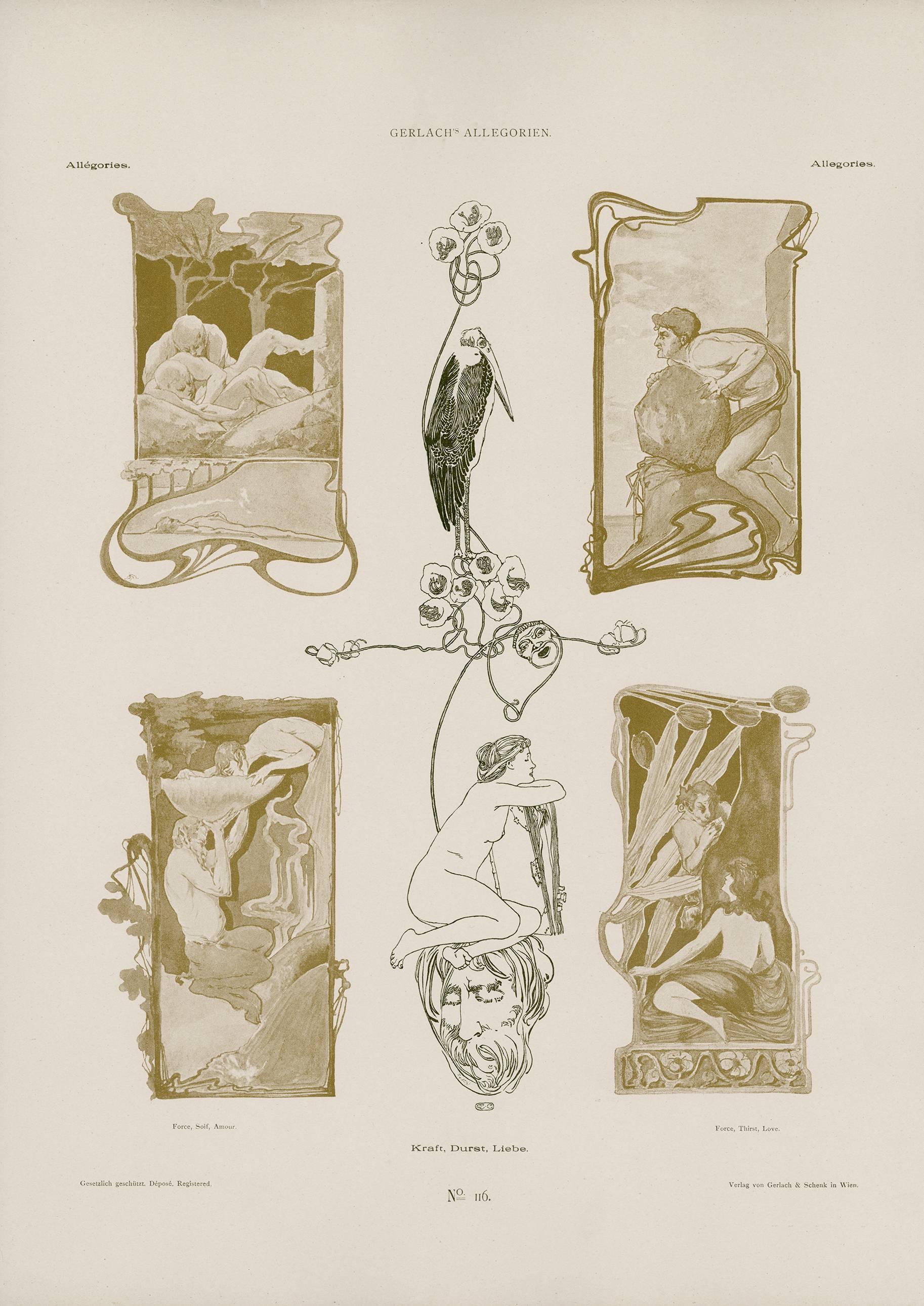 "Gerlach's Allegorien Plate #116: ""Force, Thirst, Love"" Lithograph"