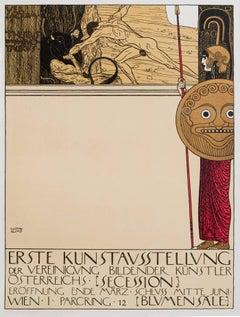 """Ottokar Mascha Folio, plate 8: """"Poster for the 1st Vienna Secession Exhibition"""""""