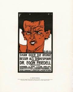 """Ottokar Mascha Folio, plate 18: """"Shaw Oder Die Ironie Poster"""" by Egon Schiele"""
