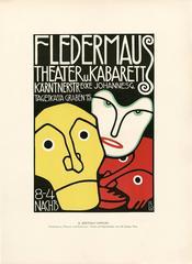 """Ottokar Mascha Folio, plate 12: """"Fledermaus Theatre und Kaberett Poster"""""""