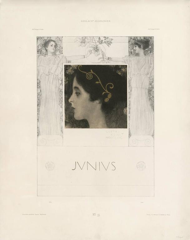 """Gerlach's Allegorien Folio, plate #53: """"Junius"""" Lithograph, Gustav Klimt."""