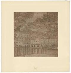 "H.O. Miethke Das Werk folio ""Malcesine on Lake Garda"" collotype print"