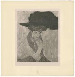 """Gustav Klimt & k.k. Hof-und Staatsdruckerei - H.O. Miethke Das Werk folio """"Black Feather Hat"""" collotype print"""