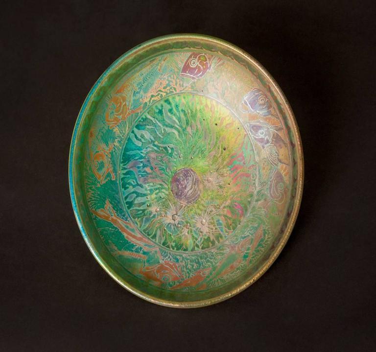 Iridescent Ocean Bowl - Art Nouveau Art by Jean Barol
