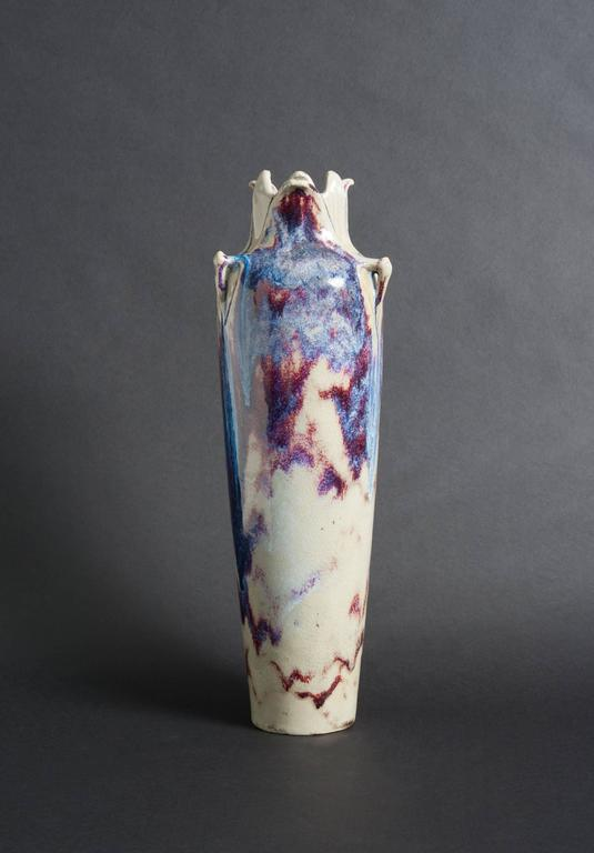 Lachenal's vase explores the gorgeous abstract effects of process itself every bit as dramatically as it captures a moment in time. It is a cascade of color held in perfect tension. As one of the pivotal figures of the Art Nouveau, Edmond Lachenal