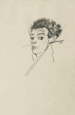 """E. Strache, Handzeichnungen folio, """"Self-Portrait"""" Collotype plate"""