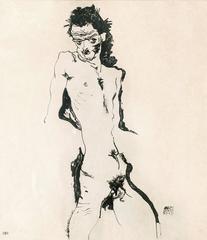 "Egon Schiele - Sema portfolio, 1912, ""Male Nude I"" Lithograph print 21/215"