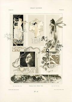 """Gerlach's Allegorien Plate #20: """"Song, Love, Music, Dance"""" Lithograph"""