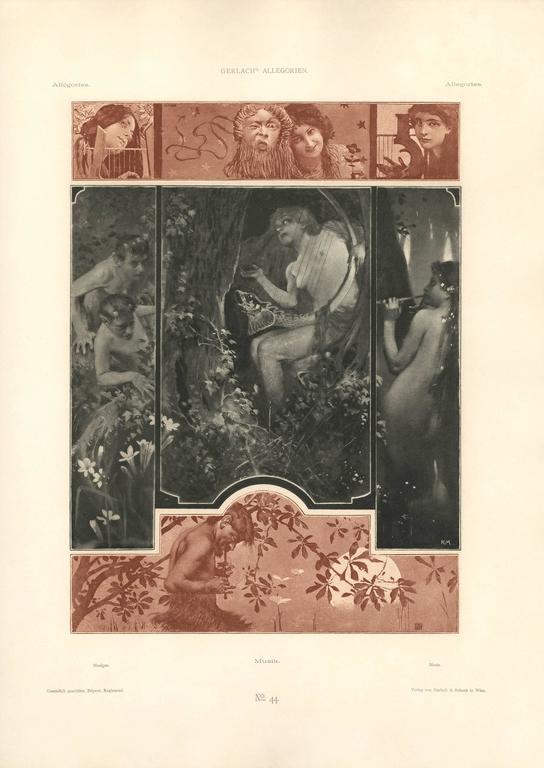 """Gerlach's Allegorien Plate #44: """"Music"""" Lithograph"""