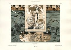 "Gerlach's Allegorien Plate #75: ""Hunting, Fishing, Rowing, Cycling"""