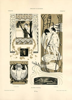 "Gerlach's Allegorien Plate #89: ""Bookplate Spring"" Lithograph"