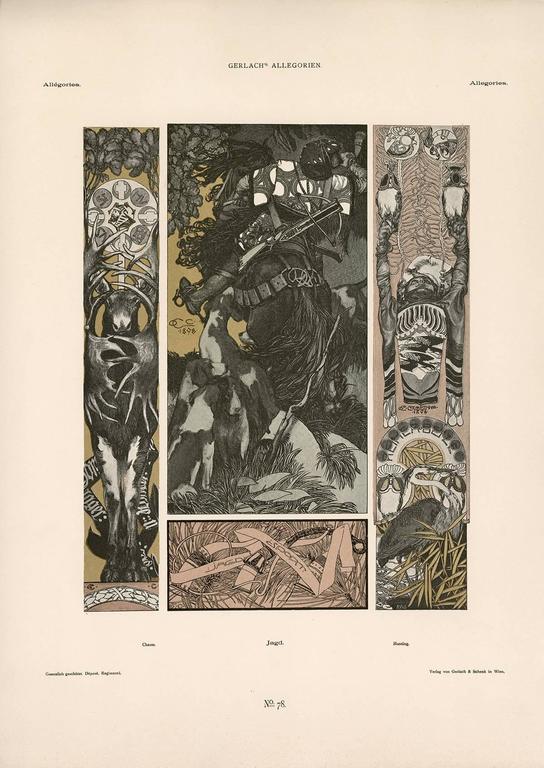 """Gerlach's Allegorien Plate #78: """"Hunting"""" Lithograph by Carl Otto Czeschka"""