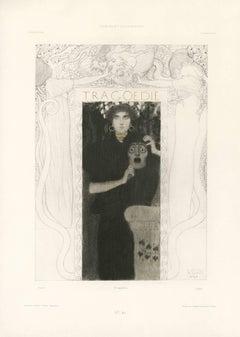"""Gerlach's Allegorien, plate #66: """"Tragedy"""" Lithograph, Gustav Klimt."""