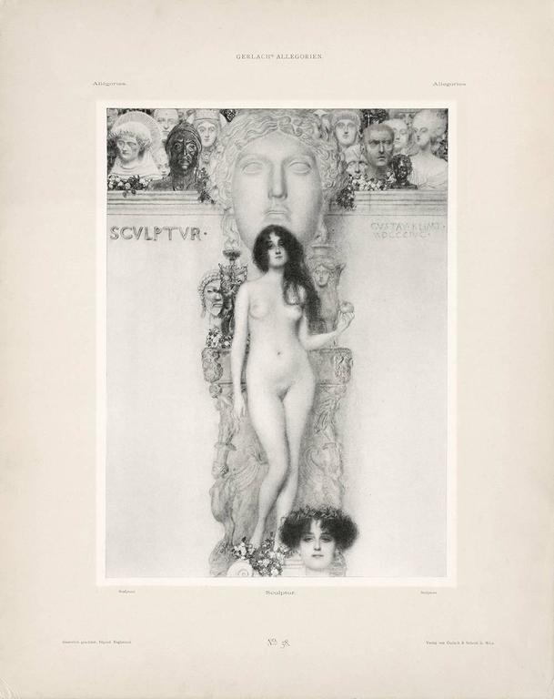 """Gerlach's Allegorien Folio, plate #58: """"Sculpture"""" Lithograph, Gustav Klimt."""