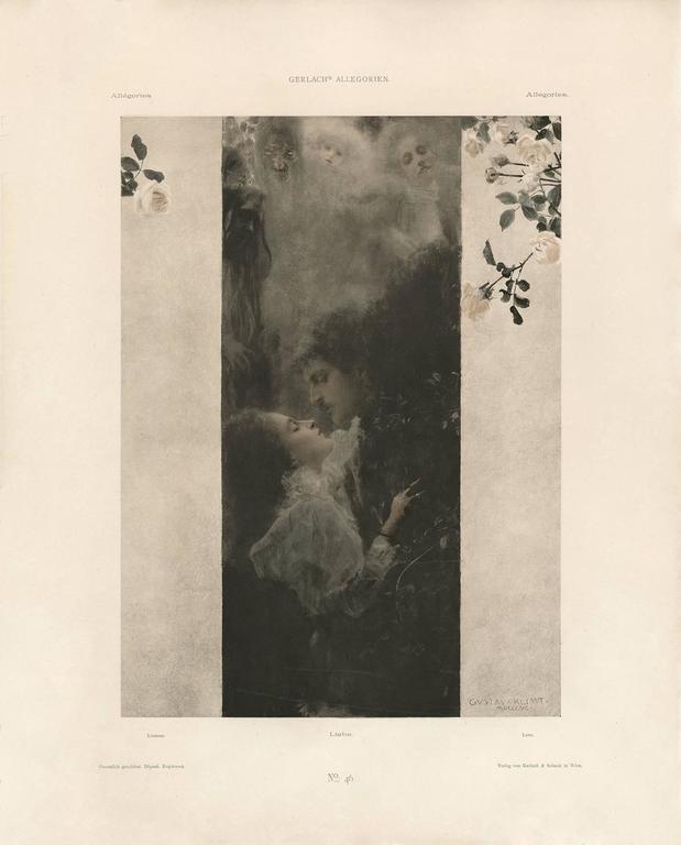 """Gerlach's Allegorien, plate #46: """"Love"""" Lithograph, Gustav Klimt. - Print by Gustav Klimt"""