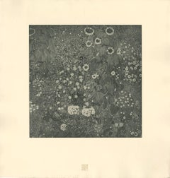"H.O. Miethke Das Werk folio ""Farm Garden With Sunflowers"" collotype print"