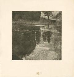 "H.O. Miethke Das Werk folio ""Pond in the Morning"" collotype print"