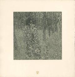 """H.O. Miethke Das Werk folio """"Cottage Garden with Crucifix"""" collotype print"""