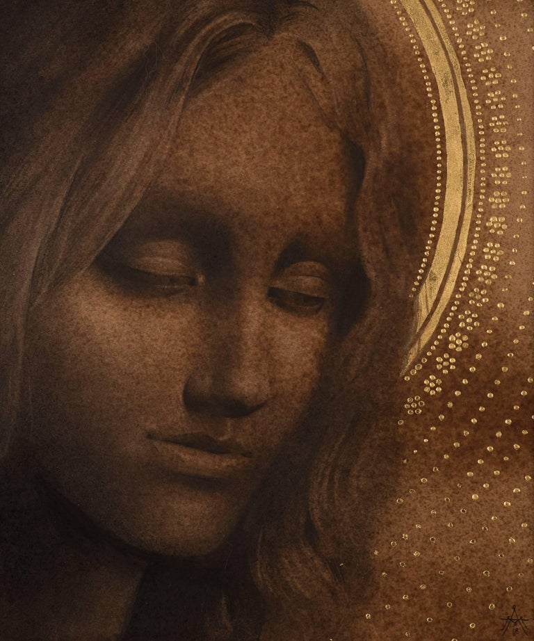 """Alessandra Maria Portrait - """"Rhea"""" Contemporary Drawing with Gold-Leaf"""