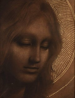 """""""Helena"""" Symbolist Drawing with Gold-Leaf"""