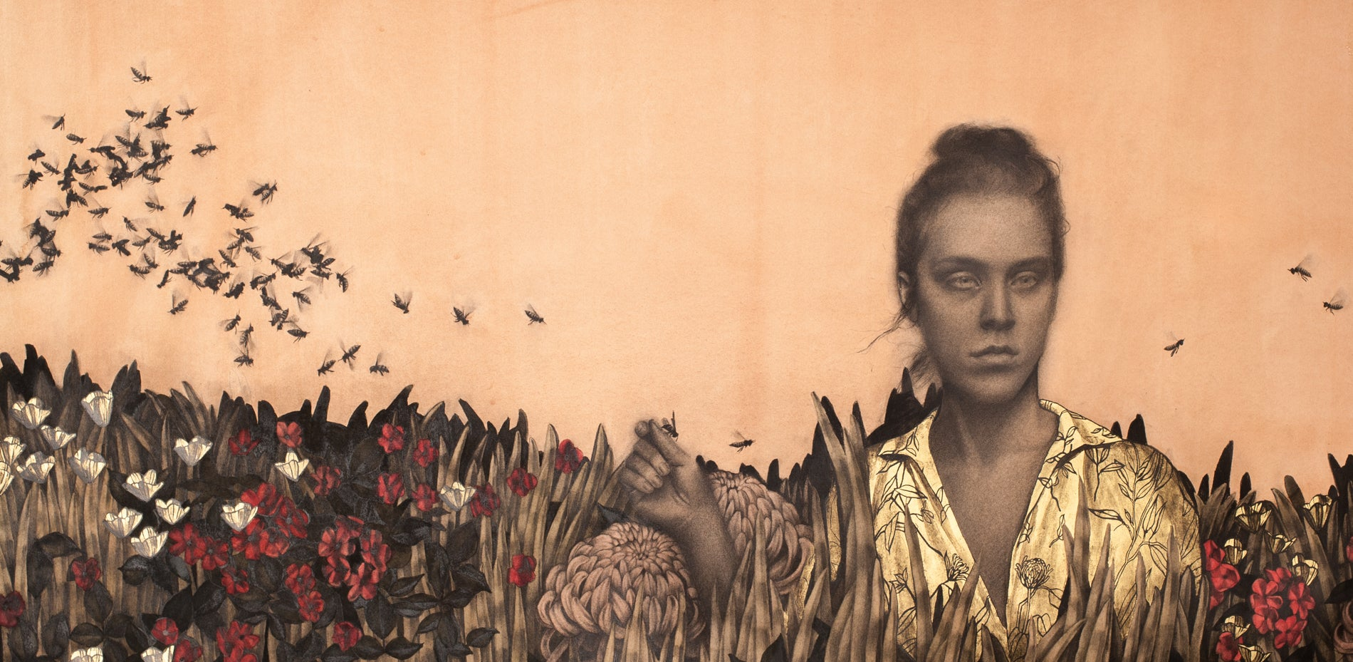 """""""Self-Portrait I"""" Contemporary Drawing with Gold-Leaf"""