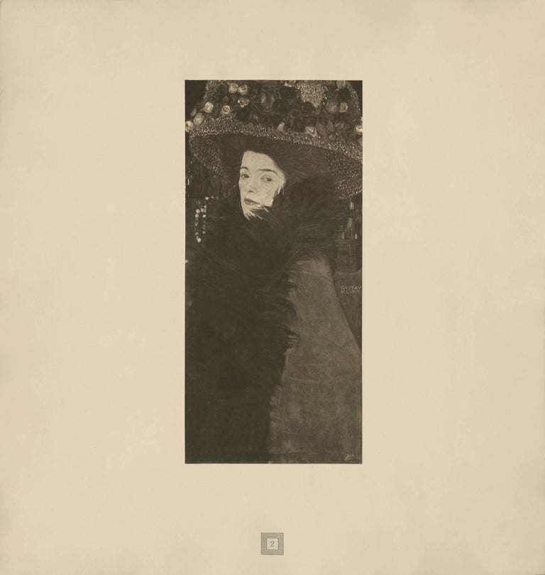 """Max Eisler Eine Nachlese folio """"Lady in a Feathered Hat"""" collotype"""