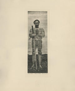"""Praying Warrior"" Copper Plate Heliogravure"