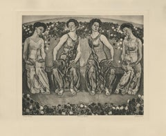 """The Holy Hour with Four Figures"" Copper Plate Heliogravure"