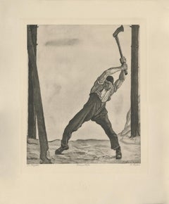 """The Woodcutter"" Copper Plate Heliogravure"