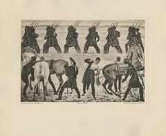 """""""Departure of Jena Volunteers in 1813"""" Copper Plate Heliogravure"""