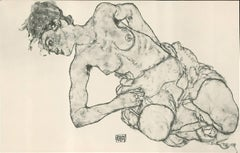 "R. Layni, Zeichnungen folio, ""Kneeling Female Semi-Nude"" Collotype plate XII"