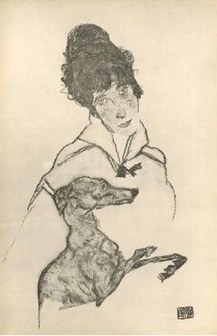 """R. Layni, Zeichnungen folio, """"Woman with Greyhound"""" Collotype plate III"""