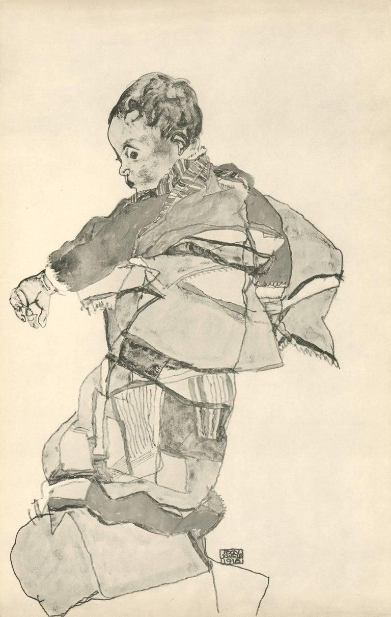 "Egon Schiele and Max Jaffé Figurative Print - R. Layni, Zeichnungen folio, ""Portrait of a Child"" Collotype plate V"