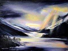 Sunlight on Glenfinnan  Mountains abstractlandscape oil painting
