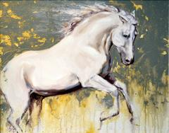 White Horse Study abstract oil painting