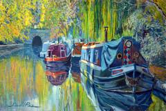 Boats on Regents Canal landscape oil painting