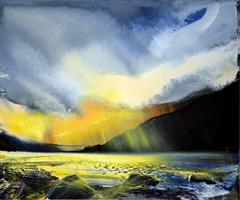 Sunlight and Showers, Torrin abstract landscape oil painting