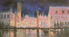 Piazza. San Marco, Venice , by Night abstract city landscape oil painting