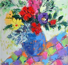 Flowers with Checked Cloth abstract still life oil painting