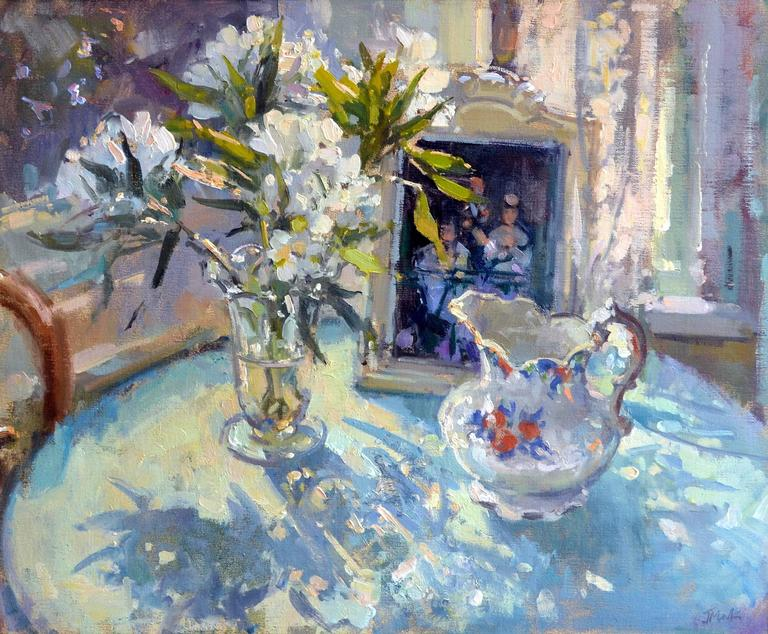 John d martin rba white lilies with manet painting at for Devant le miroir manet