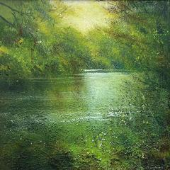It all goes Quiet on the river abstract  landscape painting