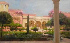 The Gardens of the Casa Pilatus, Seville achitecture landscape oil painting