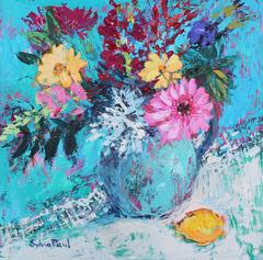 Dhalias and Lemon abstract still life oil painting