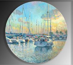 Marina Sunset landscape oil painting