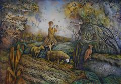 The Faun appears to Shepperdess  abstract landscape painting