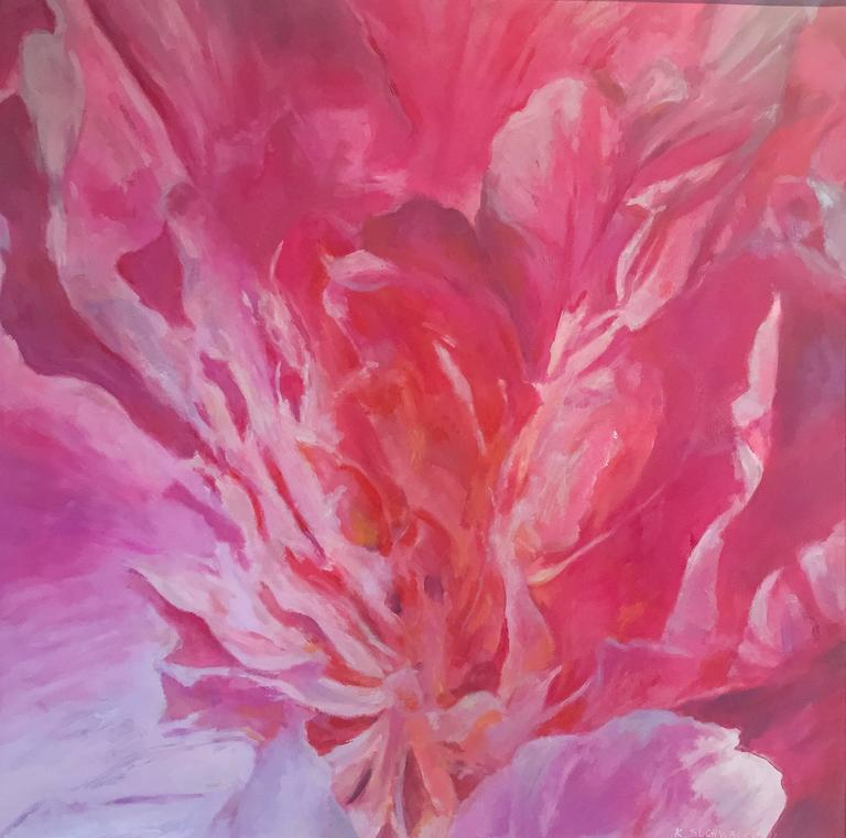 Flower, Pink III Abstract still life painting